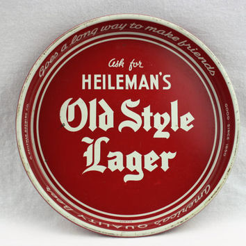 Vintage 1960s Heileman's Old Style Lager Metal Beer Tray