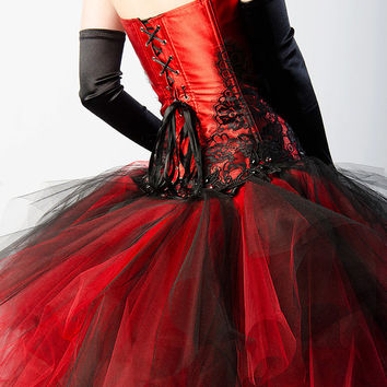 Custom Steampunk Dress Flame Crystal Corset Dress Red And Black Burlesque Prom Wedding Costume