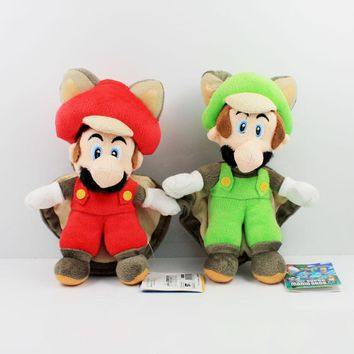 22cm Super Mario Bros Plush Musasabi Flying Squirrel Mario Luigi Plush Toys Soft Stuffed Toys Figures Toy for Kids Gift