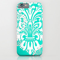 iPhone 6 Case, iPhone 6 Plus, Custom Phone Cover, Gift for Her, Tech Lover, Damask, Color like Tiffany Blue