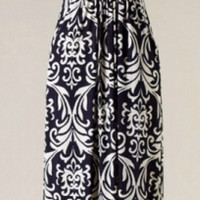 Elegant Damask Maxi Dress - Navy