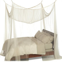 4-Post Bed Canopy in Ecru Color Mesh Fabric - Fits All Bed Sizes