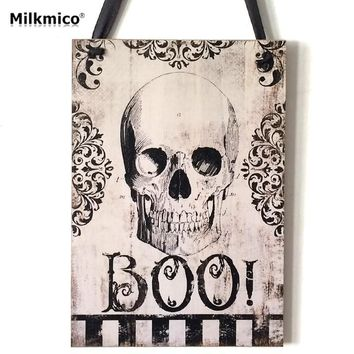 Milkmico Halloween Wooden Hanging Board Witch Pumpkin Skull Style Hallowmas Wall Sign Bar Club Party Decorations Wood Hangtag