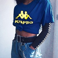 KAPPA Fashion Women Men Big Logo Tee Shirt B-XXM-MZC Yellow