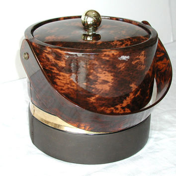 Georges Briard Ice Bucket in Tortoiseshell Brown