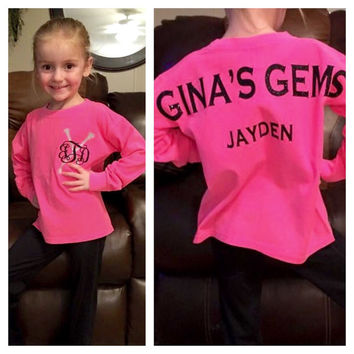 Long sleeve Majorette Pullover, Toddlers, Little Girls, Majorette Pullover, Twirlers, Baton Monogram Long Sleeve T shirt