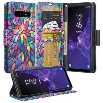 Samsung Galaxy S10 Plus Case, Galaxy S10+ Wallet Case, Wrist Strap Pu Leather Wallet Case [Kickstand] with ID & Credit Card Slots - Rainbow Flower