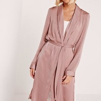 Missguided - Satin Back Crepe Duster Coat Pink
