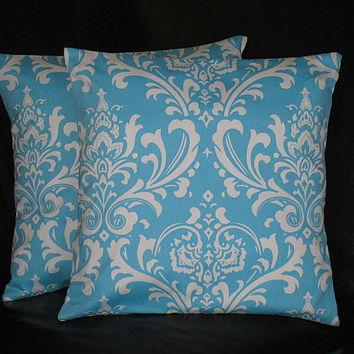 "Pillows Decorative Pillows aqua TRIO chevron, chain link, damask 16x16 inch Throw Pillow Covers 16"" turquoise, white"