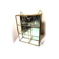 Vintage Glass Curio Cabinet Glass Display Case Wall Curio Cabinet Mirror Cabinet Small Curio Cabinet Miniature Cabinet Jewelry Display Box