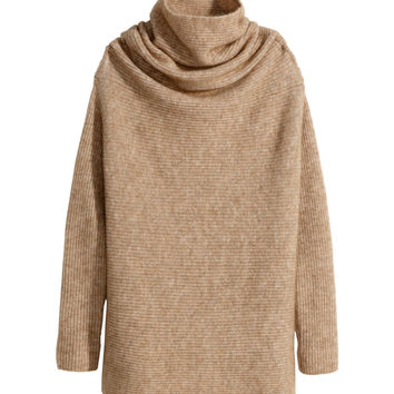 H&M - Mohair-blend Turtleneck - Beige - Ladies