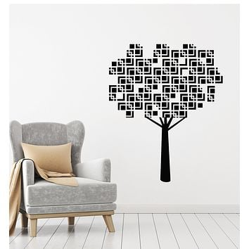 Vinyl Wall Decal Nature Tree Geometric Leaves Pattern Stickers Mural (g1833)