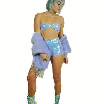 I See You Lilac Iridecent Short Set