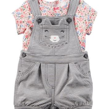 Carter's Pink & Blue Floral Tee & Gray Kitten Shortalls Set - Infant