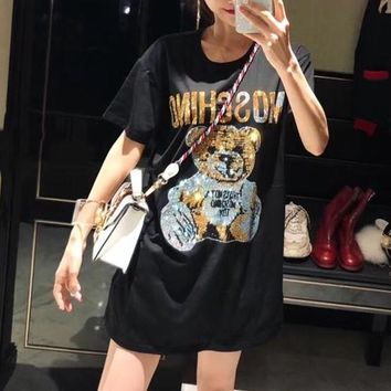 """Moschino"" Women Fashion Rhinestone Cute Cartoon Bear Letter Pattern Short Sleeve T-shirt Top Tee"