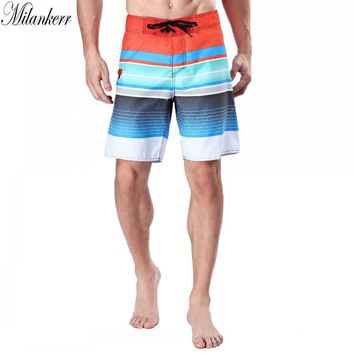 Milankerr Brand Surf Shorts for Men Twin Micro Fiber Boardshorts Stripes Beach Swim Trunks Male Beach Shorts with One Pocket