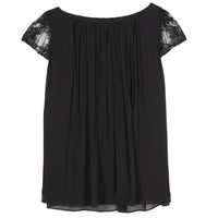 PIMMY LACE-TRIMMED CHIFFON TOP