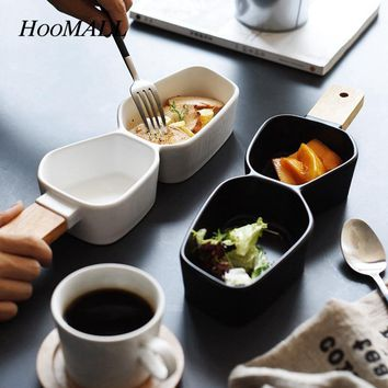 Hoomall Japanese Style Wood Handle Porcelain Brulee Snack Dish Cheese Tray 2 Grids Kitchen Party Dinnerware Dishes&Plates