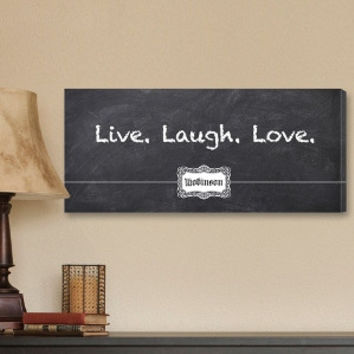 Live, Laugh, Love Chalkboard Canvas Print
