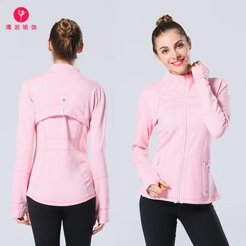 Lu Jacket Lu Stand Lead Agleroc Quality Goods High-end Motion Jacket Bodybuilding Loose Coat Run Close Yoga Serve Woman