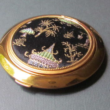 Gold Black Asian Silk Compact Lin Bren