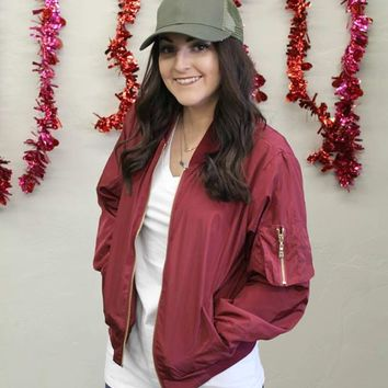 Zippered Bomber Jacket - Burgundy