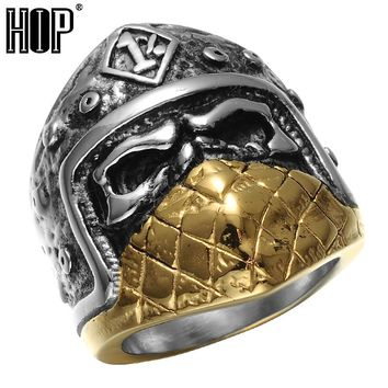 HIP Punk Gothic Tone Tone Gold Titanium Stainless Steel Mask Skull Ring for Men Jewelry