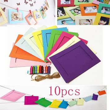 Fashion 10 Pcs Colorful Paper Photo DIY Wall Picture Hanging Frame Album Rope Clip Set Home Decor