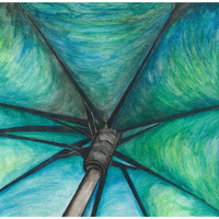 Umbrella...Watercolor Pencils....Original Art