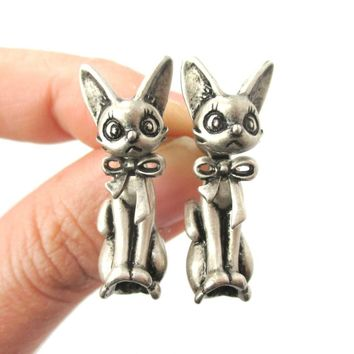 3D Kitty Cat Shaped Two Part Front and Back Dangle Earrings in Silver | DOTOLY