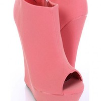 Melon Faux Leather Peep Toe Bootie Wedges