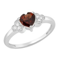 Certified 0.89 Ct Heart Garnet and Diamond Engagement Ring White 14K Gold