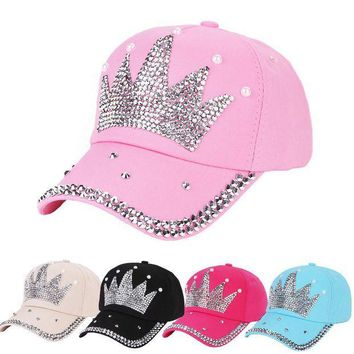 PEAP78W New Fashion Unisex Baseball Cap Rhinestone Crown Shaped Boy Girls Snapback Hat Casquette hat Sports Outdoors Cap
