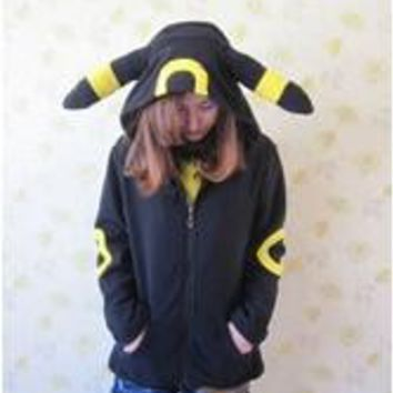 NYOOLO Animal Anime  Monster Umbreon Black Hooded Hoodie Sweatshirts With Ears Tail Adult Women Men Polar Fleece JacketKawaii Pokemon go  AT_89_9