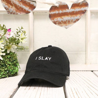 I SLAY Baseball Hat Low Profile Embroidered Baseball Caps Dad Hats Black