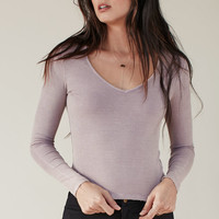 Me To We Deep V-Neck Ribbed Long Sleeve T-Shirt at PacSun.com