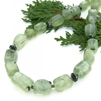 Green Prehnite Handmade Necklace, Hematite Gemstone Artisan Spring Summer Jewelry