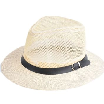 2017 Summer Straw Bucket Hat For Male Jazz Cap For Gentleman Dad Hat Plus Size Mesh Flat Homburg Beach Hat Gorras