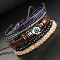 2017 Boho Women Fashion Leather Bracelets & Bangles 4 PCS Wristband Anchors Jewelry Vintage Charm Pulseira Masculina