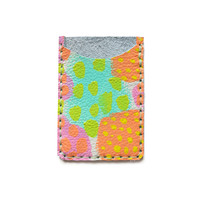 Leather Card Holder, Peach Pink and Mint Leather Wallet, Abstract Art Card Holder | Boo and Boo Factory - Handmade Leather Jewelry