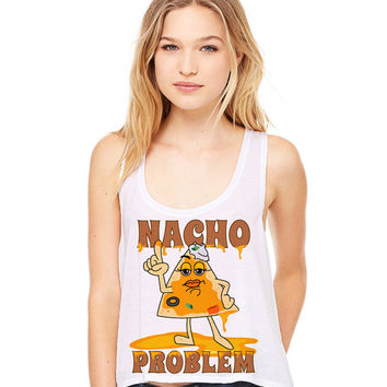 White Cropped Tank Top - Nacho Problem - Summer Outfit Spring Food Pun Funny