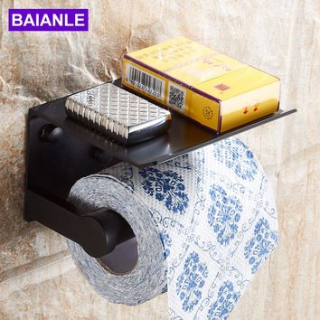 Wall Mounted Space Aluminum Black/Golden Paper Towel Shelf Phone Toilet Paper Holder