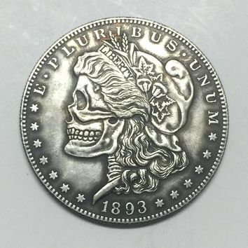 Hobo Nickel two face 1893 USA Morgan Dollar COIN COPY FREE SHIPPING