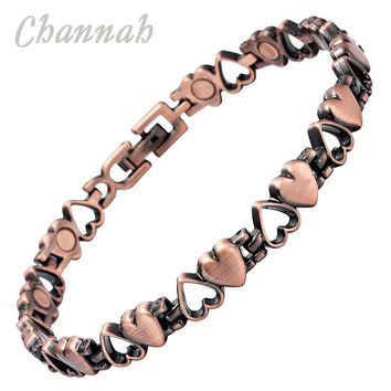 Channah Classic Ladies Antique Copper Plating Magnetic Health Women Bracelet Wristband Bio Healing Bangle 2017 Charm