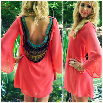 Sunburst Coral Crochet Back Dress