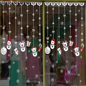 Christmas shop window decoration Christmas stickers stickers glass Christmas Snowman ornaments accessories window stickers