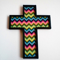 CHEVRON PRINT CROSS - Wall Cross, Decorative Handpainted Wood Cross in Black w/ Multi Color Chevron Print