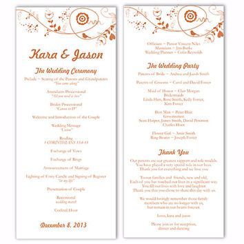 Wedding Program Template DIY Editable Text Word File Download Program Orange Program Bird Floral Program Printable Wedding Program 4x9.25""