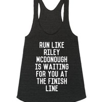 Run Like Riley McDonough Workout Tank-Athletic Tri Black Tank