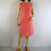 60s Picnic Gingham Dress Peter Pan Collar Zipper Front Preppy Check Dress Red Checker Dress  USA Union Label S small M medium 37